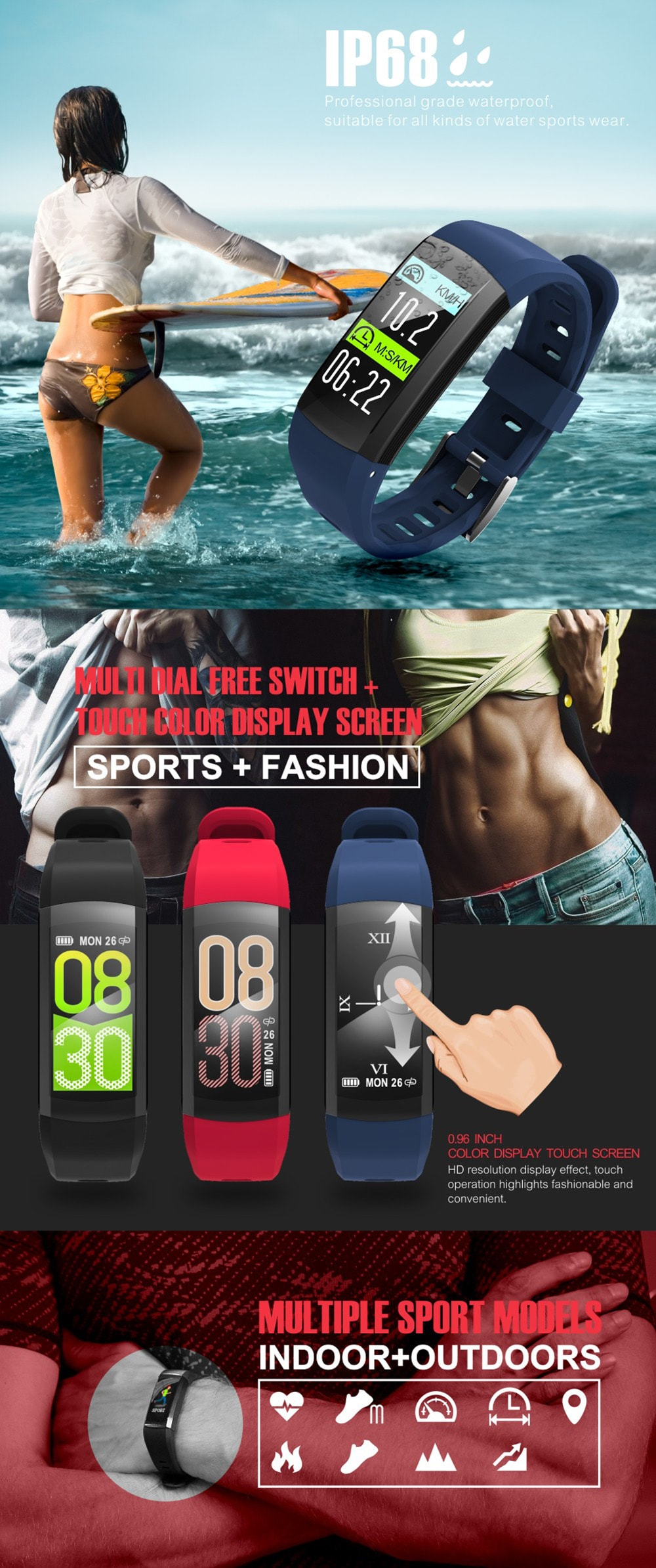 S906 GPS Multifunctional Smart Waterproof Sports Bracelet- Red