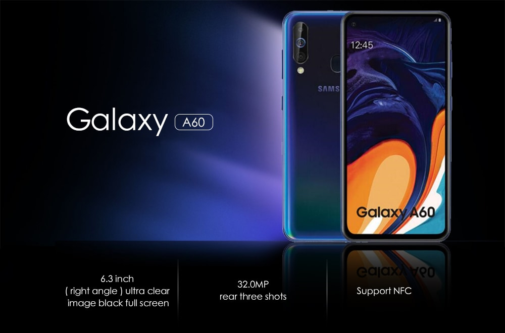 Samsung Galaxy A60 4G Phablet 6.3 inch Android 9.0 Snapdragon 675 Octa Core 2GHz 6GB RAM 64GB ROM 32.0MP + 5.0MP + 8.0MP Rear Camera 3500mAh Battery- Light Sky Blue