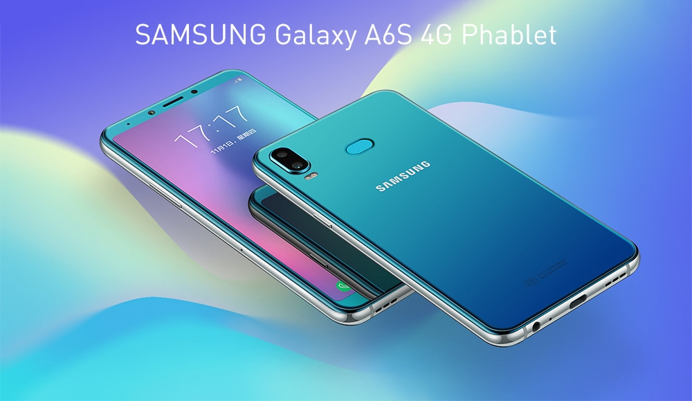 Samsung Galaxy A6s 4G Phablet 6.0 inch Android 8.0 Snapdragon 660 Octa Core 6GB RAM 128GB ROM 12MP + 5MP Rear Camera 3300mAh Battery- Blue