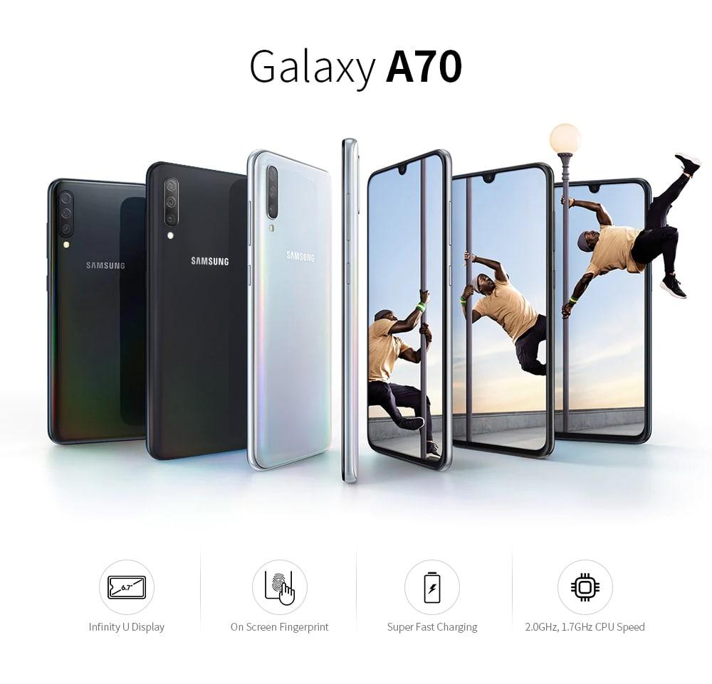 SAMSUNG Galaxy A70 4G Phablet 6.7 inch Android Qualcomm Snapdragon 675 Octa Core 8GB RAM 128GB ROM 32.0MP + 5.0MP + 8.0MP Rear Camera 4500mAh Battery- Black