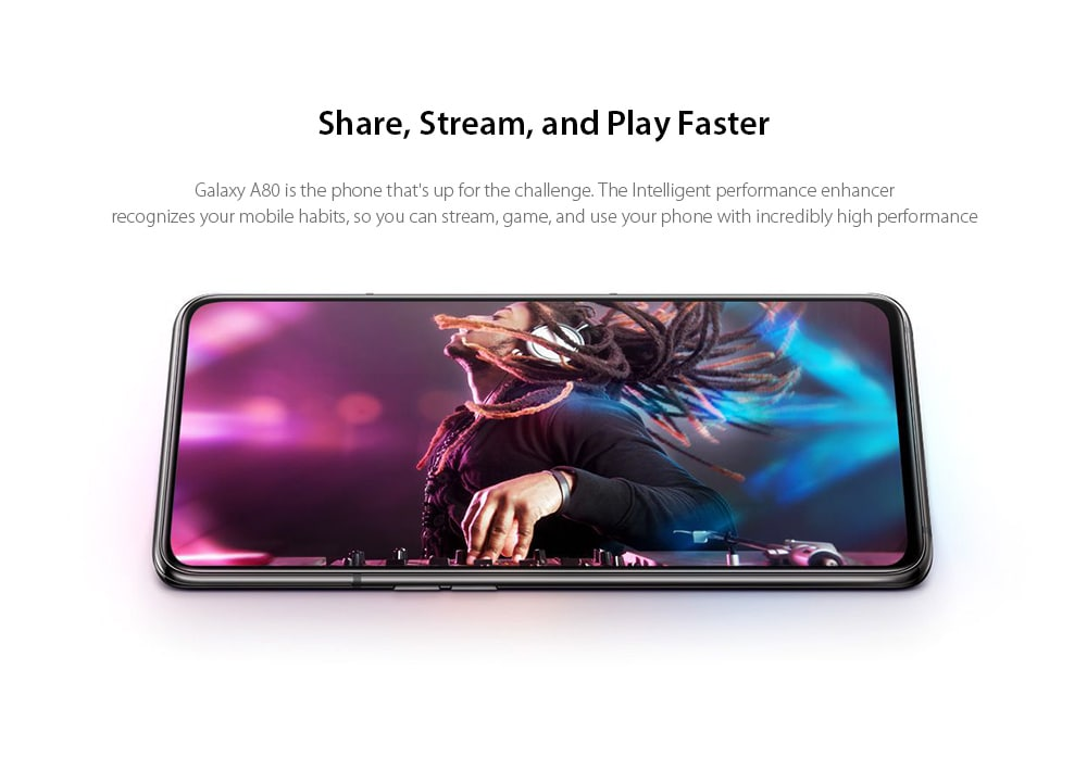 Samsung Galaxy A80 4G Phablet 6.7 inch Android 9.0 Pie Qualcomm Snapdragon 730G Octa Core 8GB RAM 128GB ROM 48.0MP + 8.0MP + HQVGA 180 Degrees Rotatable Camera 3700mAh Battery- Black