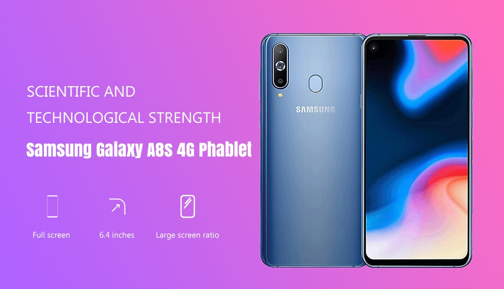 Samsung Galaxy A8s 4G Phablet 6.4 inch Android 9.0 Snapdragon 710 Octa Core 8GB RAM 128GB ROM 24.0MP + 5.0MP + 10.0MP Rear Camera 3400mAh Battery- Black
