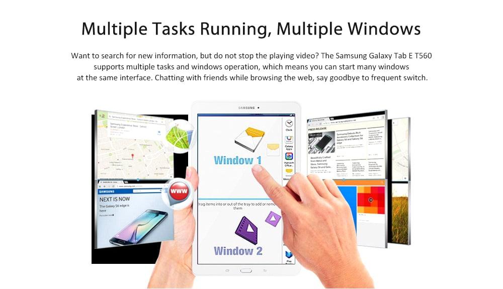 Samsung Galaxy Tab E T560 9.6 inch Tablet PC / Android 4.4 / SC7730 1.3GHz Quad Core CPU / 1GB RAM 8GB ROM / 5.0MP + 2.0MP Cameras- White
