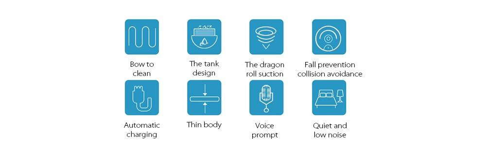 SDG S010 Giroszkóp navigáció / Képernyő / Száraz nedves / Intelligens dehidratációs vízseprő tisztítórobot - Fehér