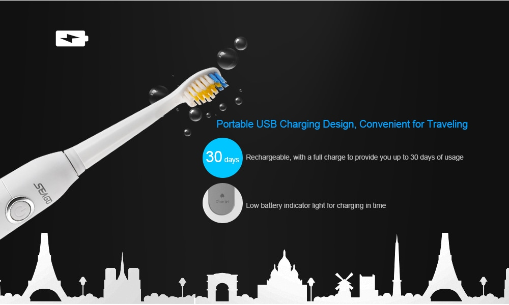SEAGO SG - 507 Electric USB Sonic Toothbrush Dentist Rechargeable Cleaner with Smart Timer Five Optional Brushing Modes Waterproof Fully Washable Replacement Heads- White