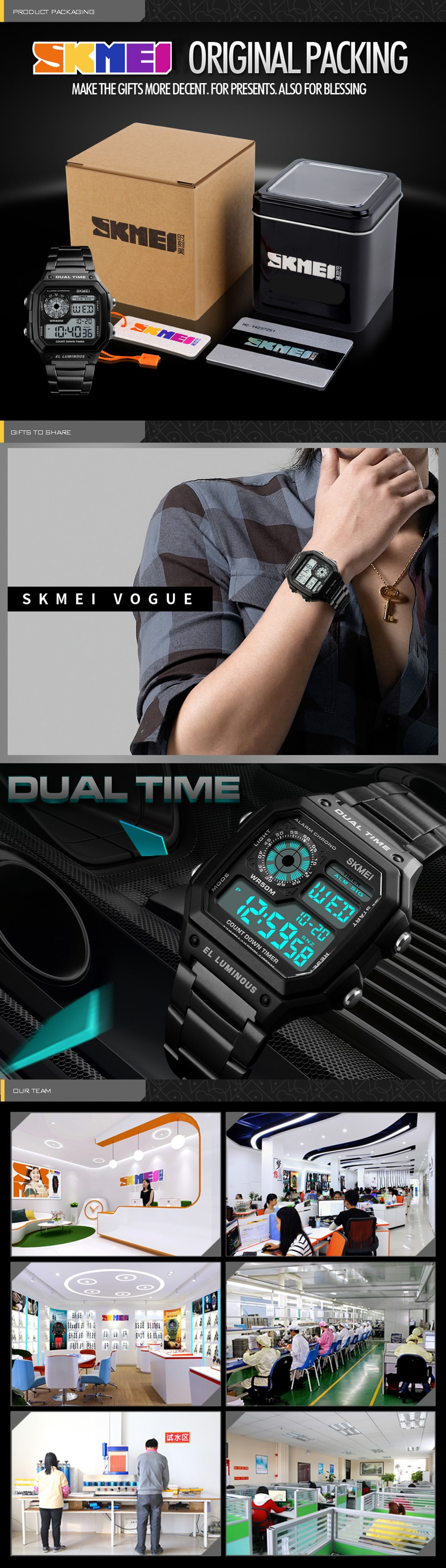SKMEI Men Sports  Waterproof Watch Stainless Steel Fashion Digital Wristwatches- Silver