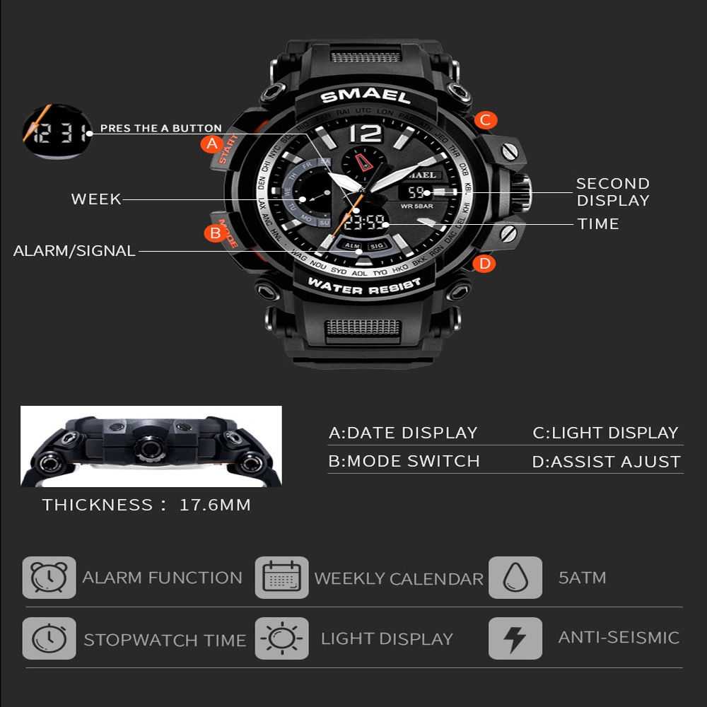 SMAEL 1702 Cool Multi-function Waterproof Electronic Watch- Black