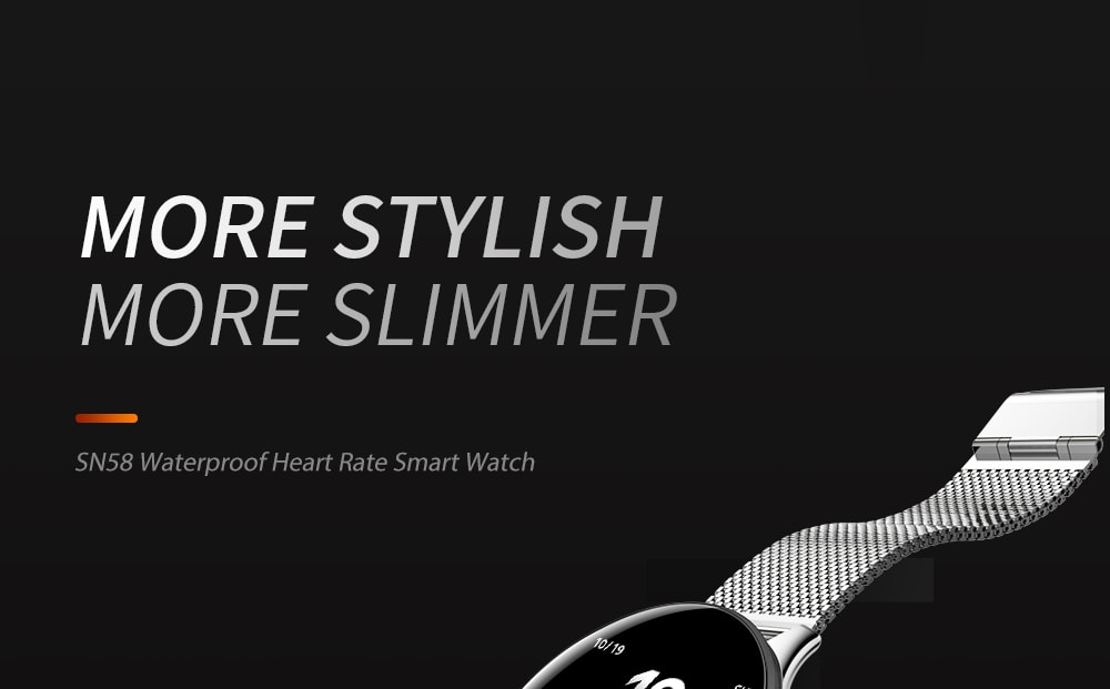 SN58 Waterproof Heart Rate Smart Watch- Silver