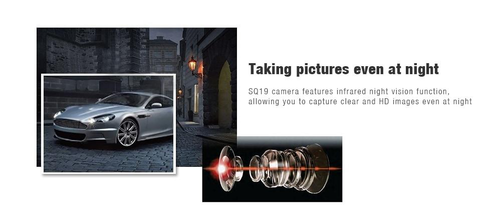 SQ19 Mini HD 1080P akció kamera Micro Lens Recorder Autós DVR Sport DV-Fekete