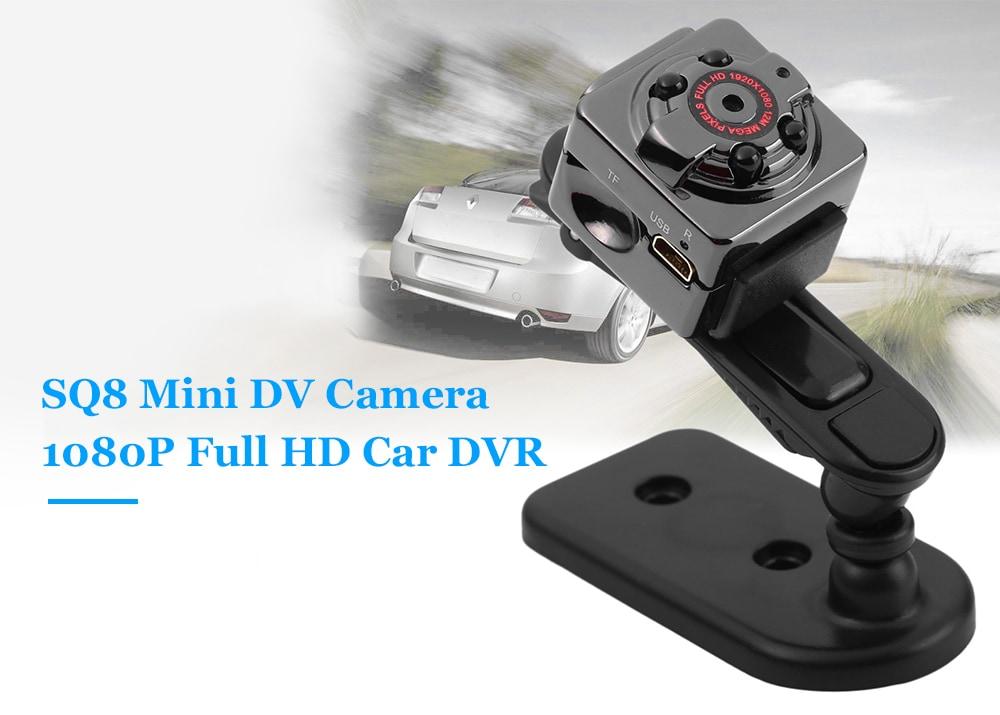 SQ8 Mini hordozható DV kamera 1080P Full HD autós DVR felvevő mozgásérzékelés - fekete