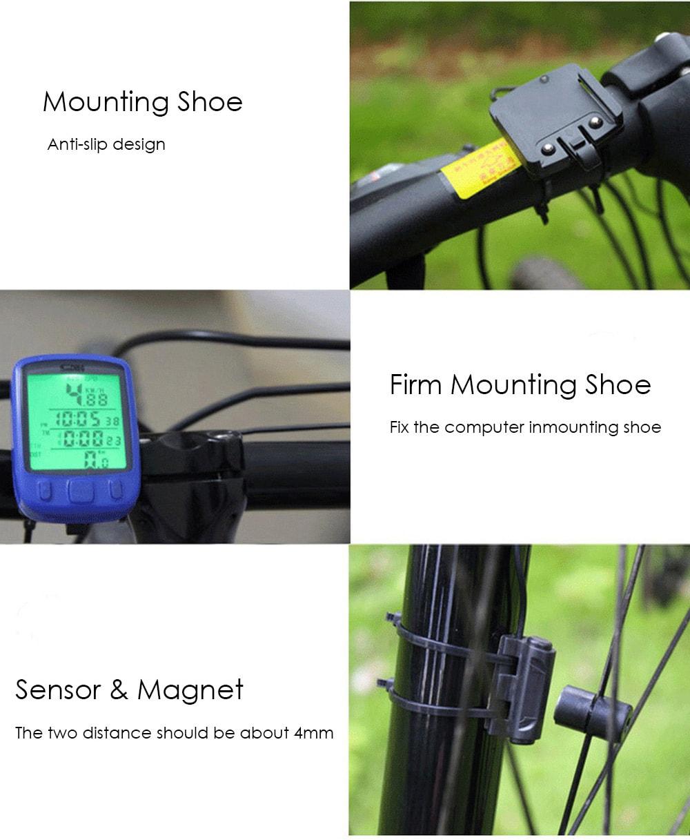SunDing SD - 563B szabadidő kerékpár számítógép vízálló kerékpáros sebességmérő sebességmérő zöld háttérvilágítással - fekete
