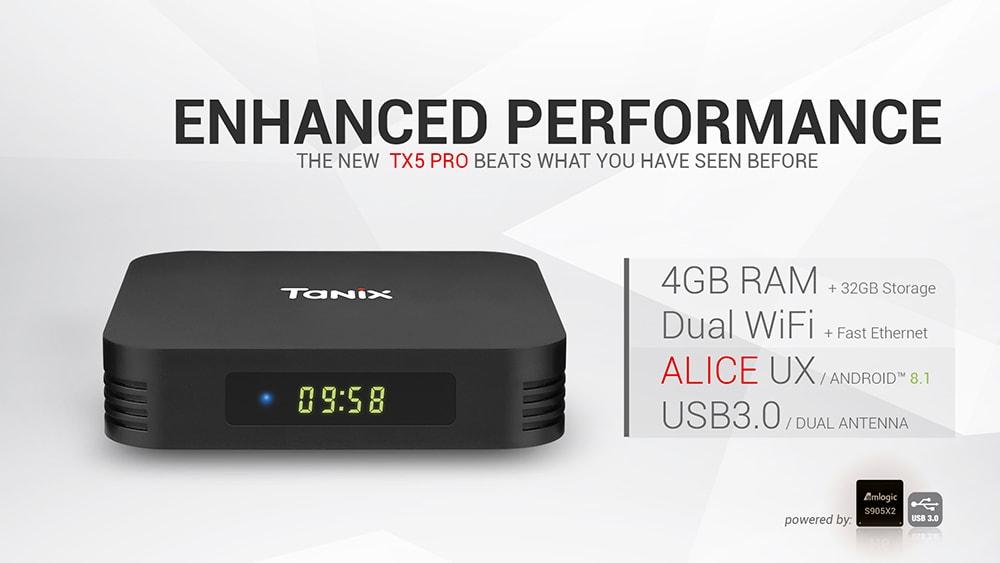 Tanix TX5 Pro TV Box Amlogic S905X2 / 4GB DDR4 + 32 GB EMMC / 2.4G + 5G WiFi / BT4.2 / 1000Mbps / USB3.0 - Fekete EU csatlakozó