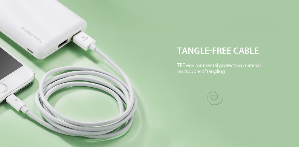 Teclast F12 High Elastic Anti-freeze Environmental Protection TPE Data Charging Cable- White 8 PIN