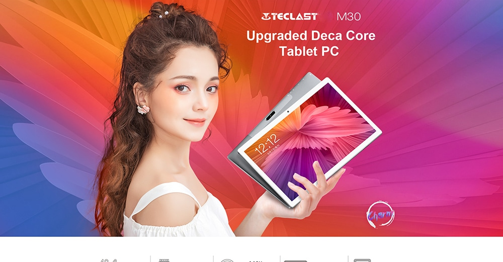 Teclast M30 10,1 hüvelykes 4G Phablet Android 8.0 MT6797X (X27) 1.4 GHz-es Decore CPU 4 GB RAM 128 GB-os eMMC ROM 5.0MP + 2.0MP kamera - ezüst