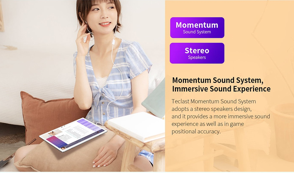 Teclast M30 Pro Tablet Momentum Sound System, Immersive Sound Experience