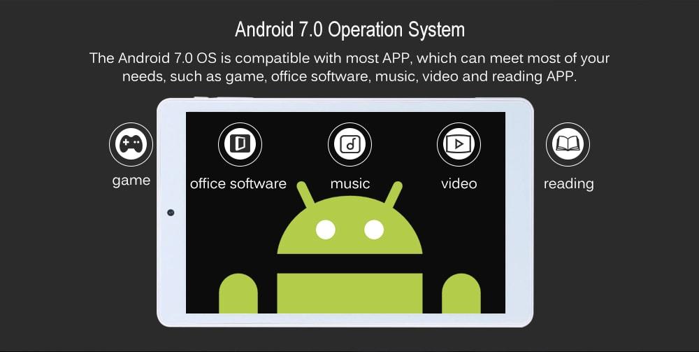 Teclast P80H 8.0 hüvelykes Tablet PC Android 7.0 MTK8163 1,3 GHz-es Quad Core CPU 1 GB RAM 16GB ROM 2.0MP kamera - fehér