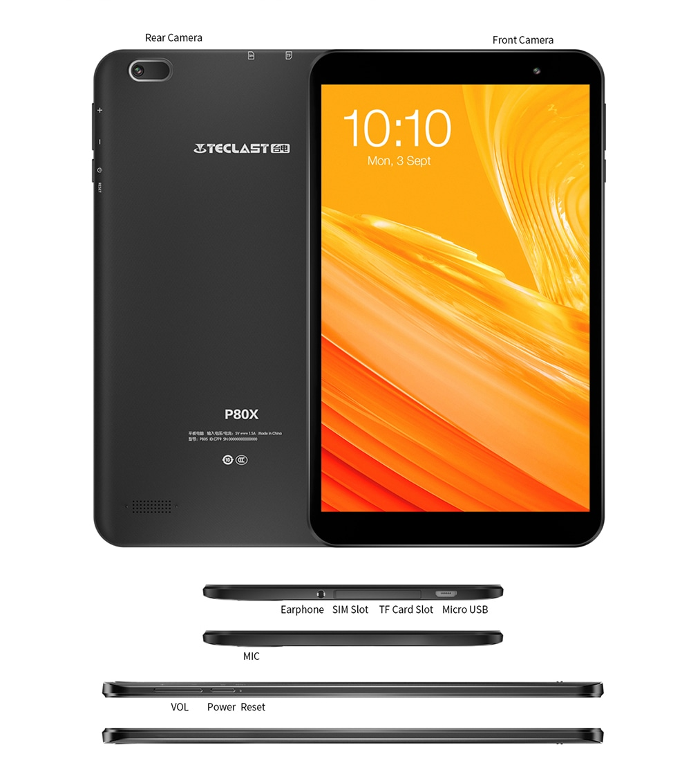 Teclast P80X 8.0 inch 4G Phablet Tablet Android 9.0 Spreadtrum SC9863A 1.6GHz Octa Core CPU 2GB RAM 32GB ROM 2.0MP Camera- Black