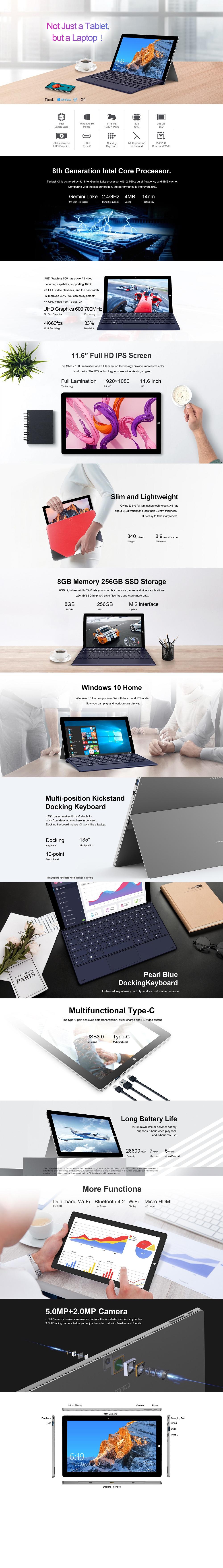 Teclast X4 2 in 1 Tablet Laptop 11.6 inch Windows 10 Celeron N4100 Quad Core 1.10GHz 8GB RAM 256GB SSD 2.0MP Front 5.0MP Camera HDMI with Keyboard- Silver 8GB+256GB