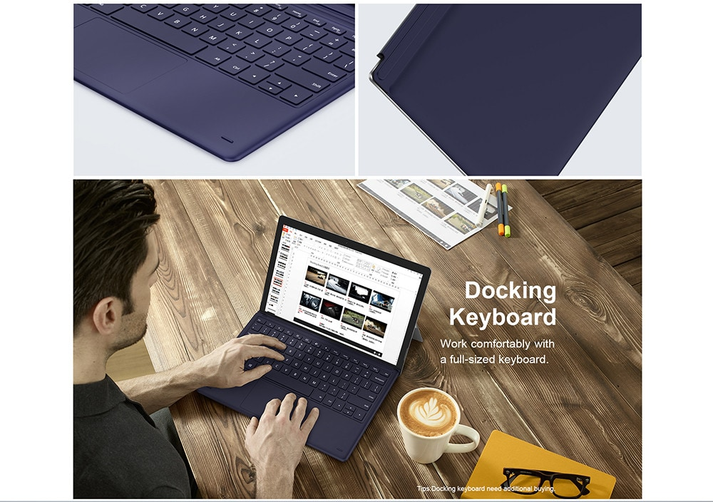 Teclast X6 Pro 2 in 1 Tablet PC 12,6 hüvelykes Windows 10 Home Angol verzió Intel Core m3-7Y30 Dual Core 1.1 GHz 8 GB RAM 256 GB SSD Kettős kamera C-típus HDMI-ezüst
