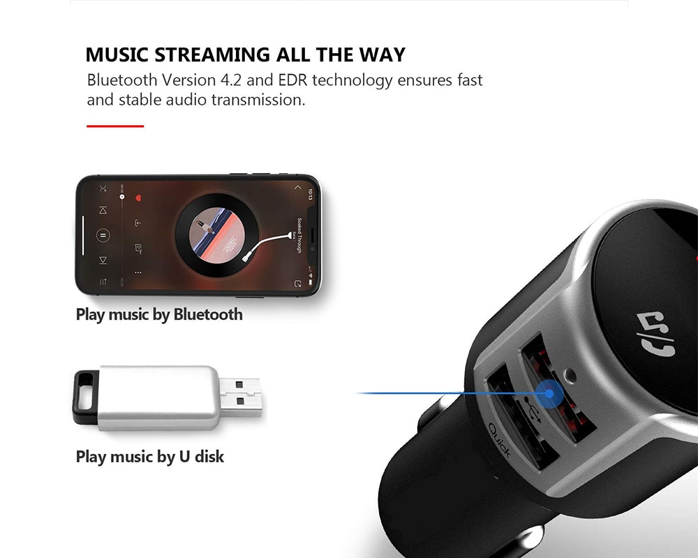 Tecney BC33 Fast Charging / MP3 Player / Hands-free Calling Bluetooth 4.2 FM Transmitter Car Charger- Black