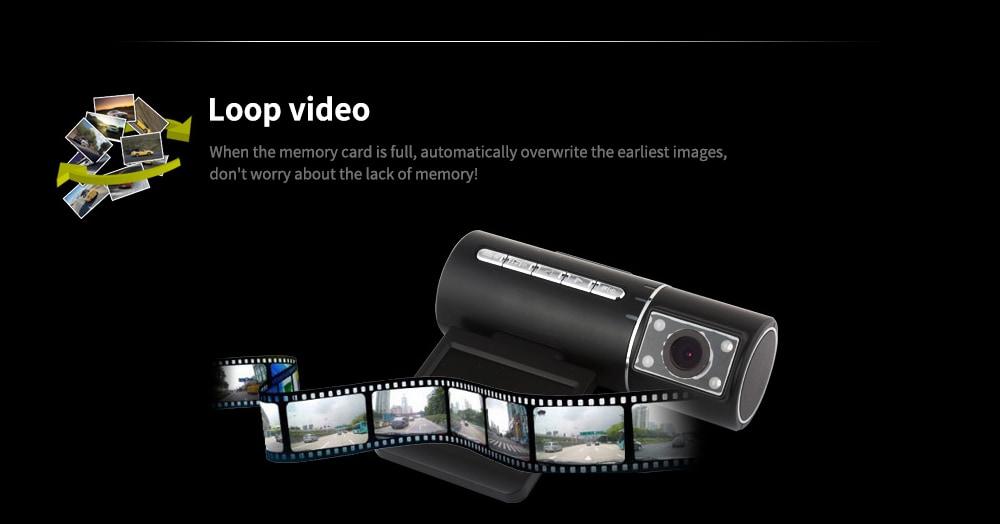 Tecney N2 2 hüvelykes képernyő / 120 fokos széles szög / gravitációs indukció 1080P infravörös éjjellátó vezetési felvevő - fekete