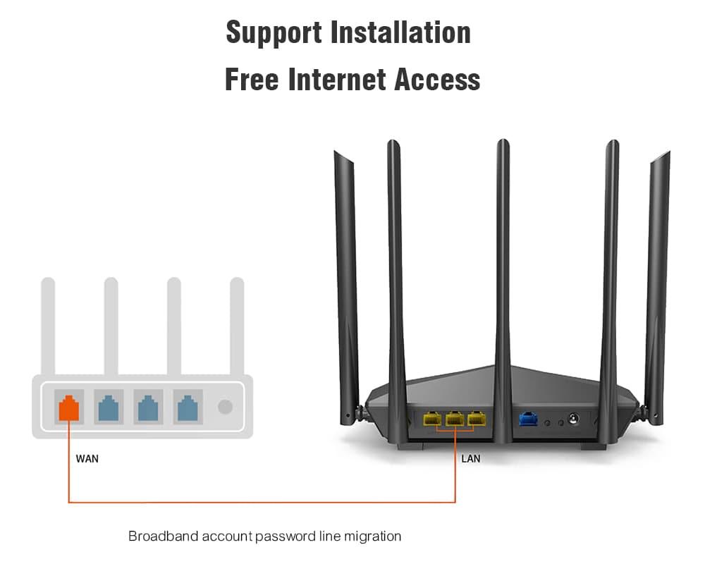 Tenda AC11 1200Mbps Vezeték nélküli WiFi router Kettős sáv 2.4G / 5G 1 WAN + 3 LAN Gigabit port 5 x 6 dBi antenna - fekete