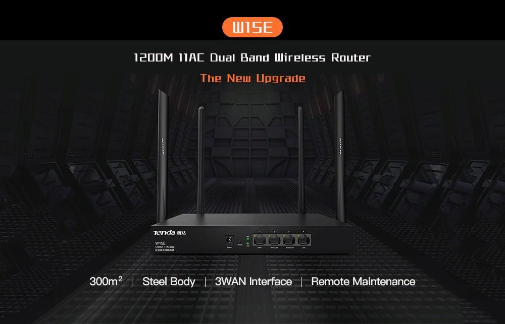 Tenda W15E 1200M 11AC Vezeték nélküli vezeték nélküli router 2.4G / 5GHz WiFi Repeater Qualcomm High Chipset irodai / kávézó / nagy ház / Hotel- fekete