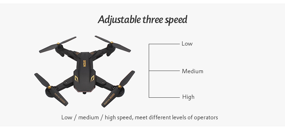 TIANQU VISUO XS809S WiFi FPV Camera Altitude Hold Mode RC Drone Quadcopter- Black 720P + Wide Angle + Two Batteries