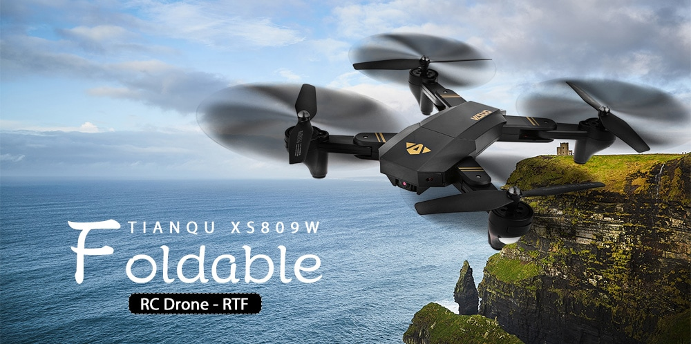 TIANQU VISUO XS809W Foldable RC Quadcopter RTF WiFi FPV / G-sensor Mode / One Key Return- Black 0.3MP Camera + Air Press Altitude Hold