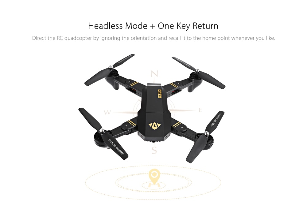 TIANQU XS809W Foldable RC Quadcopter RTF WiFi FPV / G-sensor Mode / One Key Return- Black with Two Batteries, 2MP Wide-angle Camera + Air Press Altitud