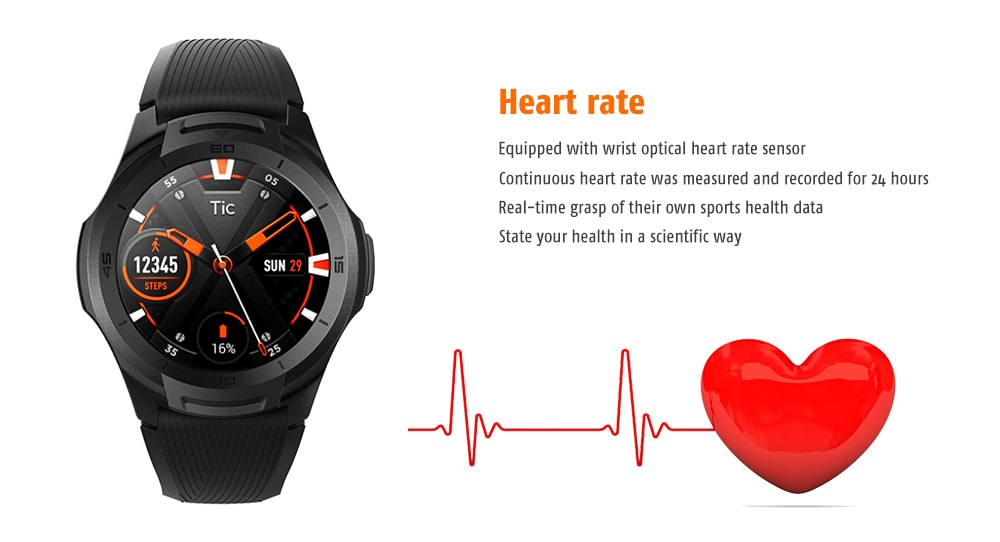 Ticwatch S2 Waterproof Design / Heart Rate Monitor / Message Alert Swimming Posture Recognition GPS Smart Watch- Milk White