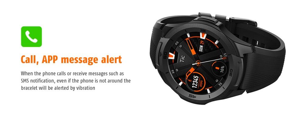Ticwatch S2 vízálló kialakítás / pulzusmérő / üzenetjelzés úszási testtartás felismerése GPS intelligens óra- fekete
