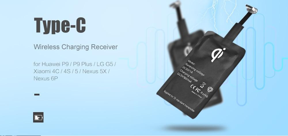 C-típusú vezeték nélküli töltőkupak vevő Huawei P9 / P9 Plus / LG G5 / Xiaomi 4C / 4S / 5 / Nexus 5X / Nexus 6P- Black
