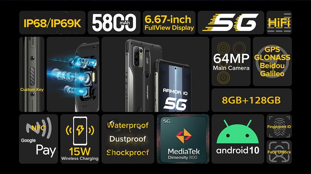 Ulefone Armor 10 5G okostelefon globális verzió - fekete EU verzió