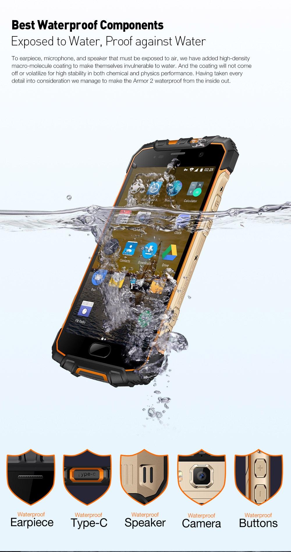 Ulefone Armor 2 4G okostelefon Android 7.0 5.0 hüvelykes Helio P25 Octa Core 2.6GHz 6GB RAM 64GB ROM IP68 Vízálló NFC 16.0MP hátsó kamera - Emerald Green