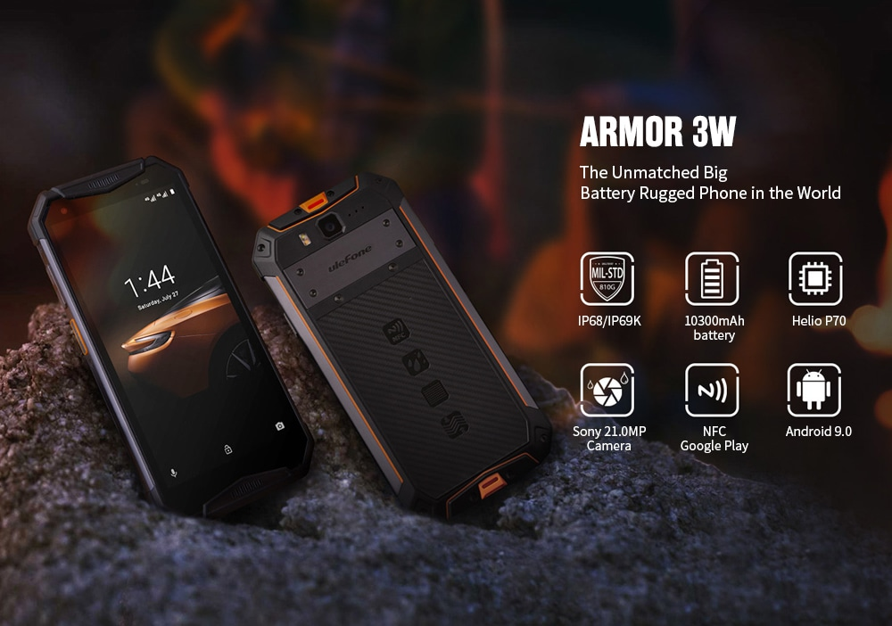 Ulefone Armor 3W 4G Phablet 4GB RAM 64GB ROM- Orange EU Version