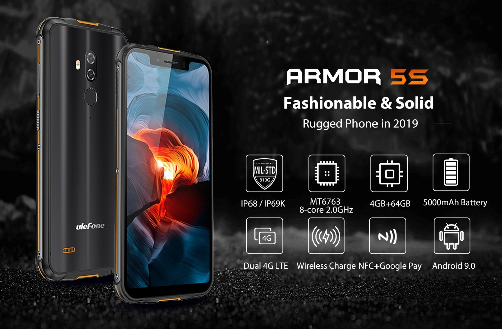 Ulefone Armor 5S 4G Phablet 4GB RAM 64GB ROM- Black Other Area