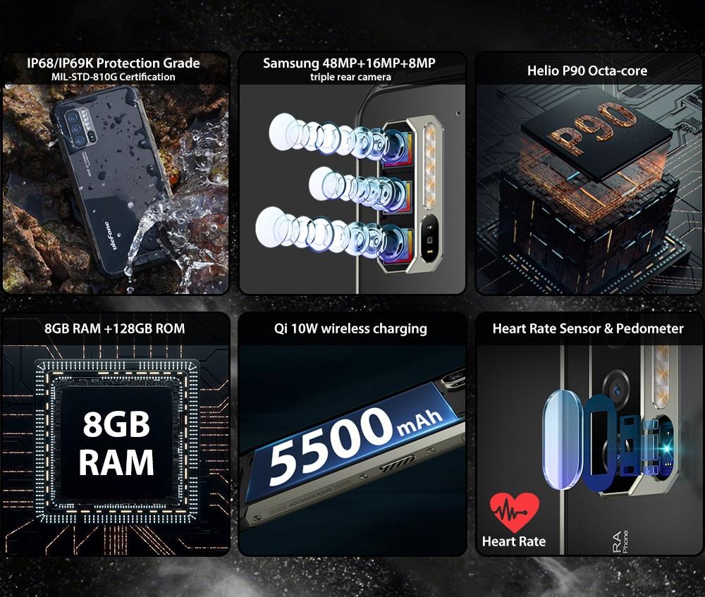 Ulefone Armor 7 4G Phablet 8GB RAM 128GB ROM - Black EU