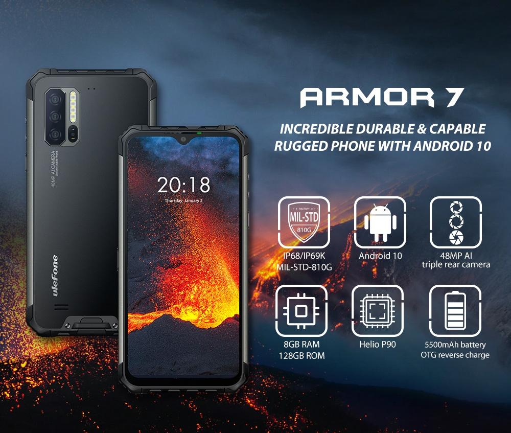Ulefone Armor 7 4G Smartphone 8GB RAM 128GB ROM - Black Other Area (New Version)