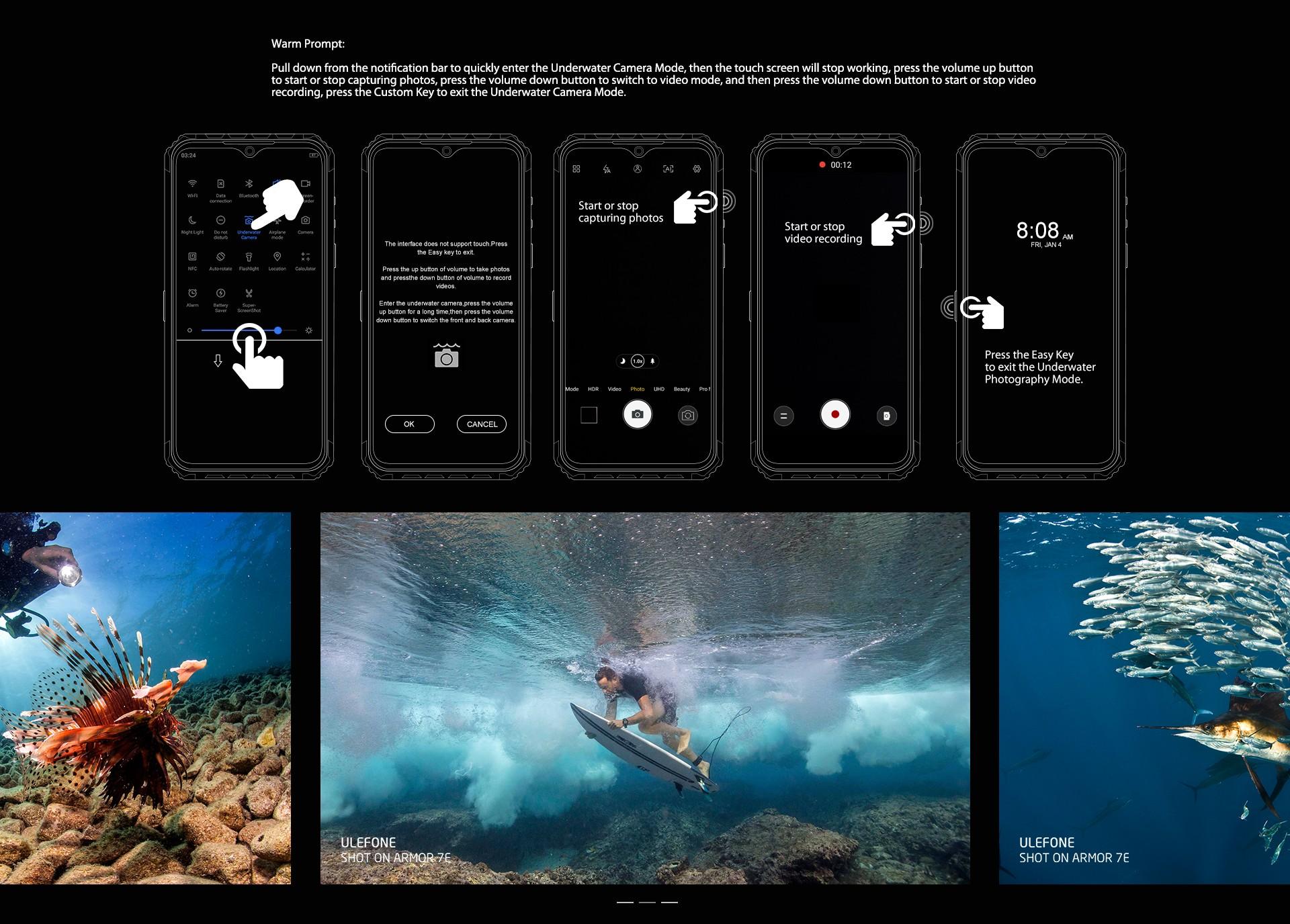 Ulefone Armor 7E 4G okostelefon 6.3 hüvelykes FHD + Android 9.0 Helio P90 Octa Core 4 GB RAM 128 GB ROM 3 hátsó kamera 5500mAh - fekete Egyéb terület
