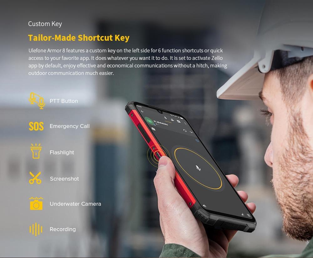 Ulefone Armor 8 Rugged 4G Smartphone Tailor-Made Shortcut Key