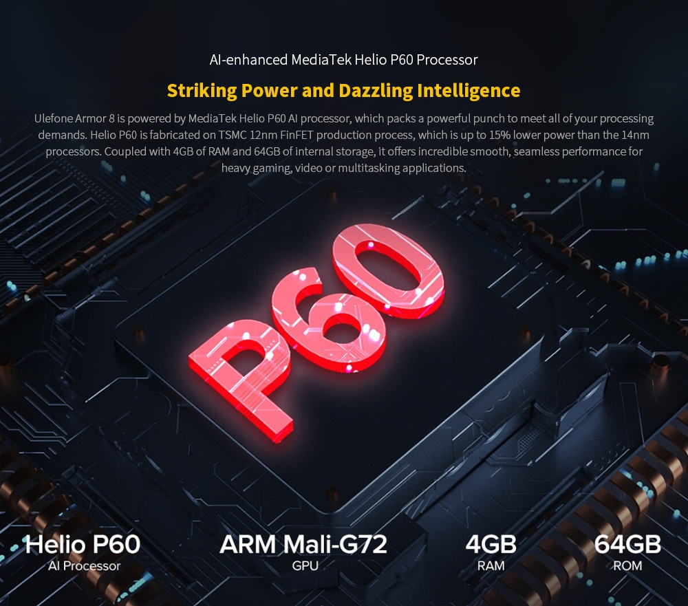 Ulefone Armor 8 Rugged 4G Smartphone AI-enhanced MediaTek Helio P60 Processor