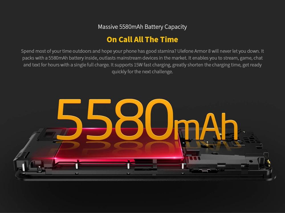 Ulefone Armor 8 Rugged 4G Smartphone Massive 5580mAh Battery Capacity