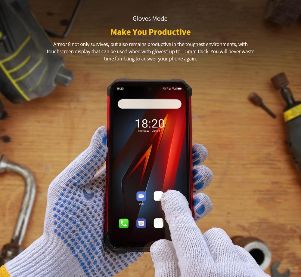 Ulefone Armor 8 Rugged 4G Smartphone Gloves Mode