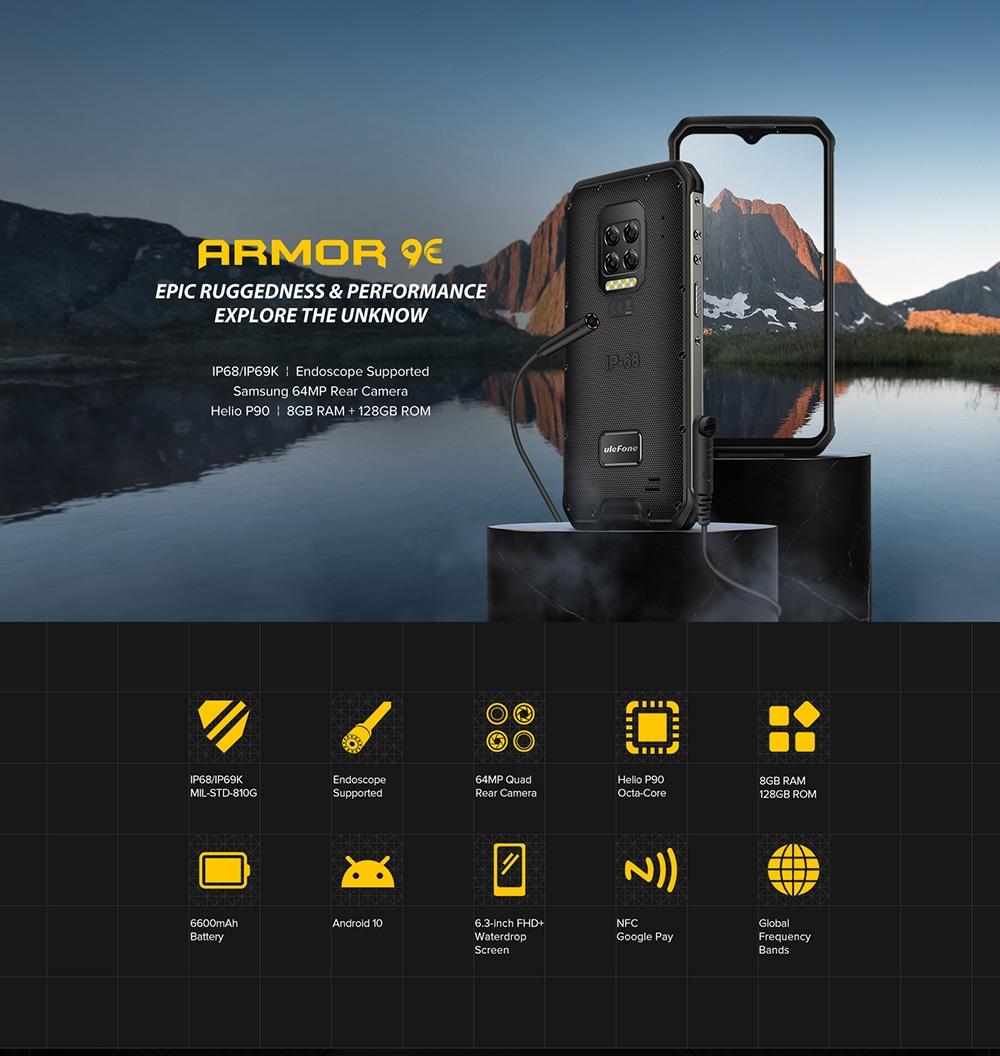 Ulefone Armor 9E 4G Rugged Smartphone IP68 IP69K Waterproof 6.3 Inch 8GB 128GB 64MP Quad Camera NFC 6600mAh Helio P90 Octa Core - Black