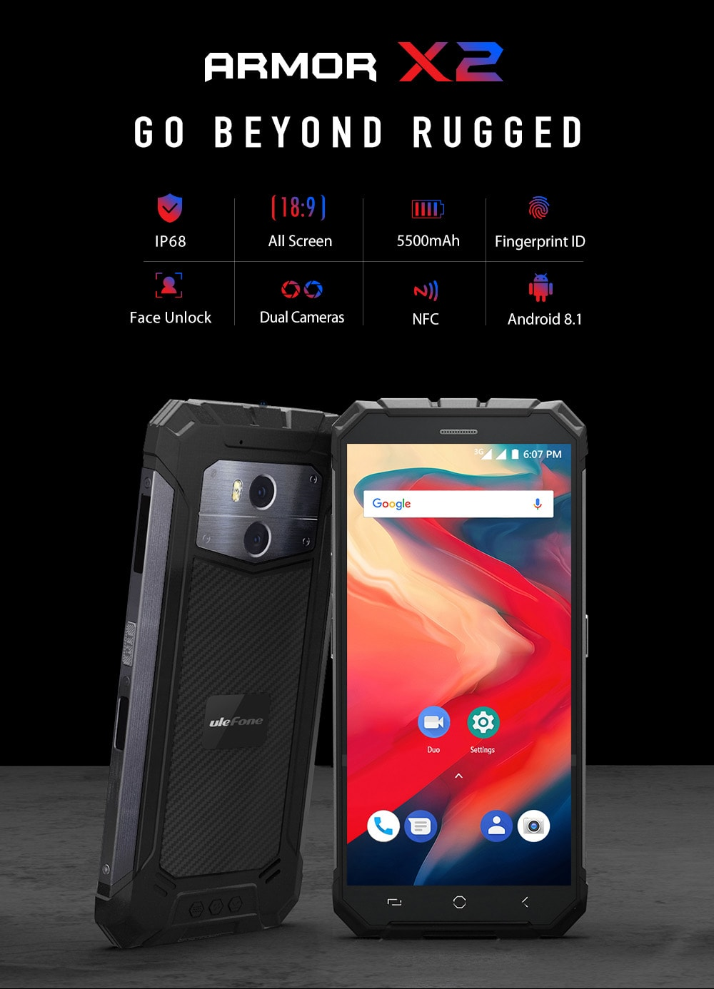 Ulefone Armor X2 3G Phablet 5.5 inch Android 8.1 MT6580 Quad-core 1.3GHz 2GB RAM 16GB ROM 13.0MP + 5.0MP Rear Camera Fingerprint Sensor 5500mAh Built-in - Gray European Union