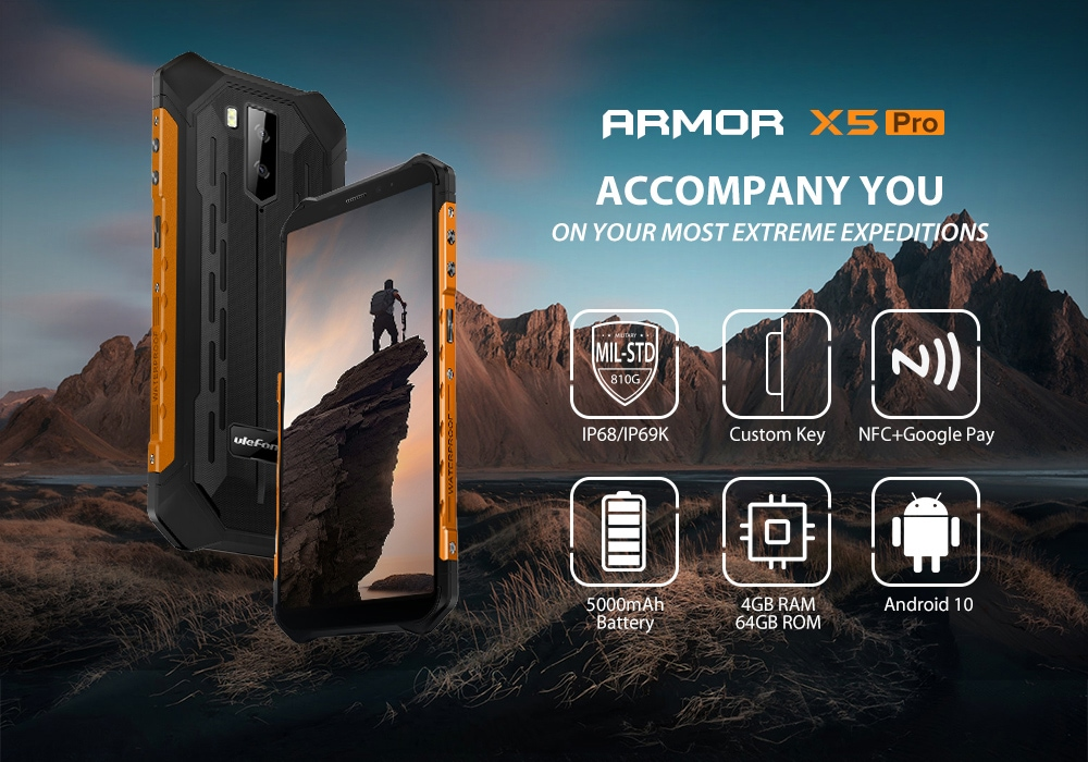 Ulefone Armor X5 Pro Rugged Waterproof Smartphone NFC 4G LTE Mobile Phone Global Version - Red