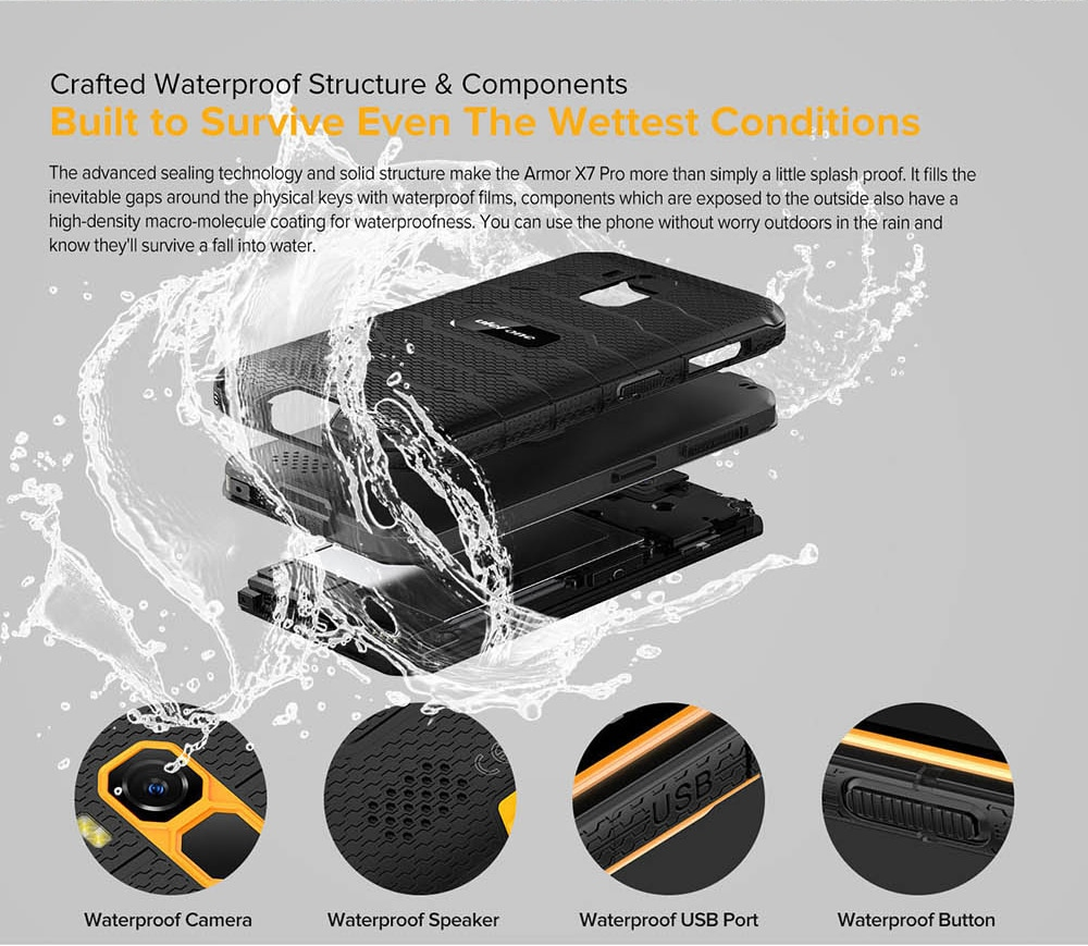 Ulefone Armor X7 Pro 4G Smartphone - Orange