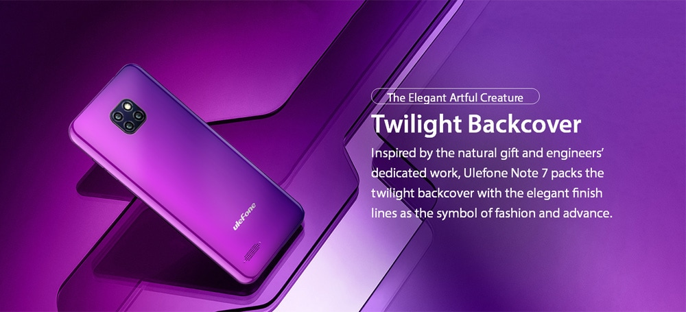 Ulefone Note 7 3G Phablet 6.1 inch Android 8.1 ( Go Edition ) MT6580A Quad-core  1.3GHz 1GB RAM 16GB ROM 5.0MP Front Camera 3500mAh Built-in EU Version- Purple EU Version