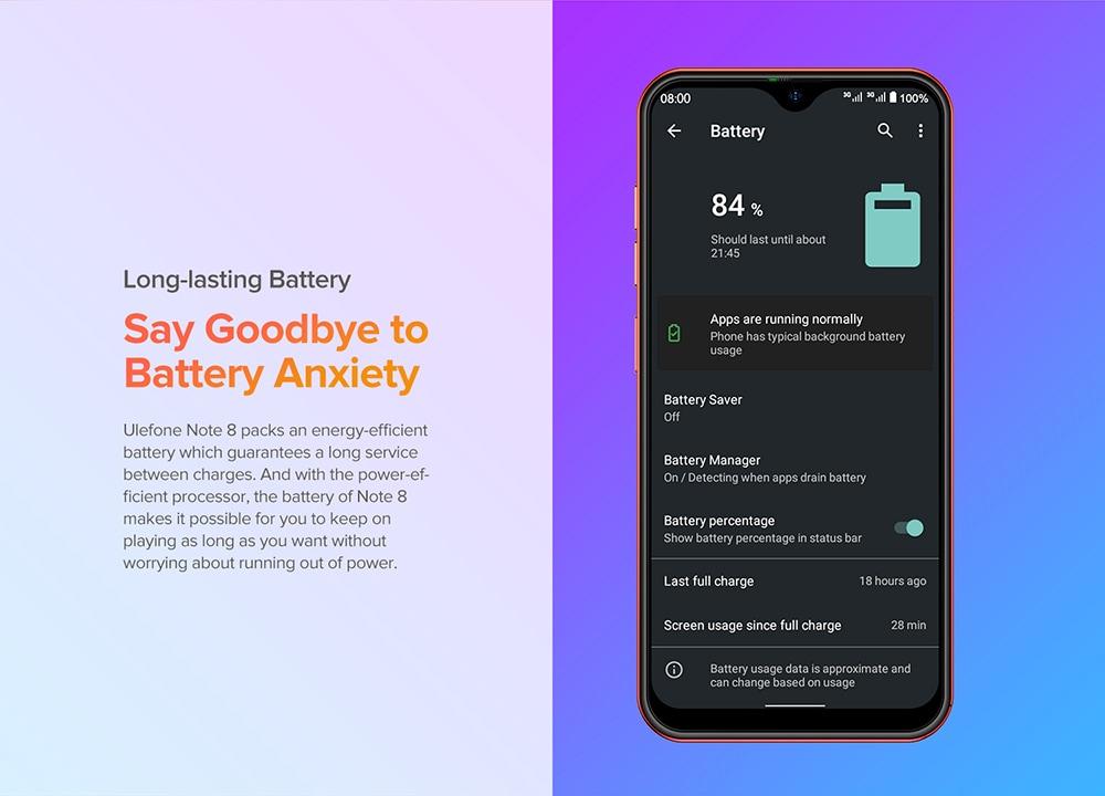 Ulefone Note 8 3G Smartphone Long-lasting Battery